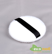 Пуховка для лица белая с черной лентой